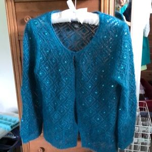 Banana Republic Sweaters - BR teal with sequins diamond pattern sweater.